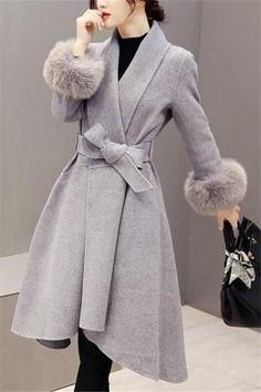 JNZZI Women Fashion Fur Tunic Long Coat Large Swing Irregular Wrap Cardigan Outerwear with Belt Manteau Look Fashion, Womens Fashion, Fashion Trends, Fashion Coat, Fall Fashion, Cheap Fashion, Sporty Fashion, Grey Fashion, Mode Ab 50