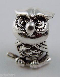Silver Plate European Story Bead Owl, A Chi Omega & Kappa Kappa Gamma Mascot NEW