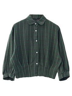 Shop Green Plaid Elastic Hem Long Sleeve Shirt from choies.com .Free shipping Worldwide.$13.9