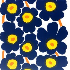 Marimekko Unikko Black PVC-Coated Fabric Splash some Unikko into your home and you will love the effect it creates. This PVC coated fabric features the iconic Maija Isola print in lovely shades of blue. The large poppy flowers are perfect sui. Textiles, Textile Patterns, Textile Prints, Textile Design, Fabric Design, Pattern Design, Print Patterns, Embossed Wallpaper, Fabric Flowers