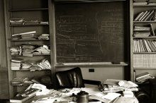 Albert Einstein's desk -- photo taken on the day of his death.