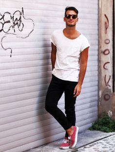 summer . simple is always good. t shirt tee , cuffed black jeans , tennis shoes sneakers or converse .