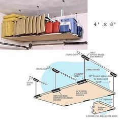 Ceiling Mounted Shelving Hardware-For 4'x8' Shelf (Steel) (4'W x 8'L(when assembled)) by Artkan. $130.00. Size: 4'W x 8'L(when assembled). Mounting hardware and instructions only - you provide the plywood for the shelf.. Constructed from durable steel.. Your garage will be transformed when you install loft style shelving.. Color: Steel. This 4' x 8' ceiling mounted shelving unit enables you to conveniently store heavy and bulky items. All you need to add is a ...