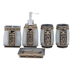Home Story Bathroom 5 Pcs Royal Accessories Sets (SILVER)…