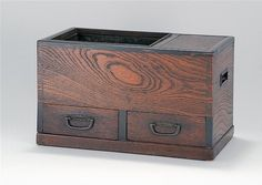 "NAGA HIBACHI In keyaki wood and ebony with two drawers and side compartment. Length 14.25"" (37 cm). Height 8.5 (21.5 cm). From the Estate of Joan P. Watkins, Massachusetts."