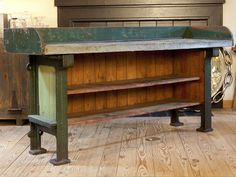 Vintage store counter with zinc top and iron feet | From a unique collection of antique and modern industrial and work tables at https://www.1stdibs.com/furniture/tables/industrial-work-tables/