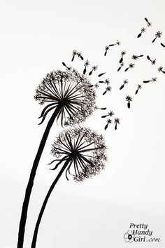 Tutorial for Painting Dandelion Wall Graphic - Pretty Handy Girl