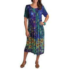 a55f57a3c0a La Cera Women s Sunflower Pleat Button Front Dress