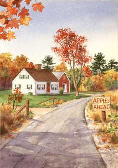 Apples Ahead by Maureen McCarthy ~ autumn watercolor