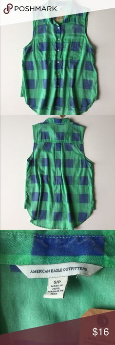 ❤️NWT SZ SM AMERICAN EAGLE BUTTON-UP❤️ NWT. American Eagle. Size small, blue and green plaid, button-up/top/shirt/blouse.  ⭐️Bundle and Save⭐️ American Eagle Outfitters Tops