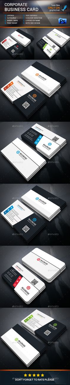 Creative Corporate Business Card Bundle Template #design Buy and Download: http://graphicriver.net/item/creative-corporate-business-card-bundle/12850027?ref=ksioks