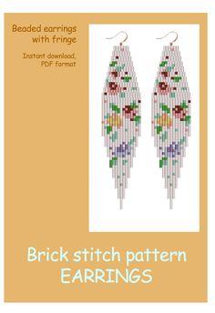 Lilibeadpatterns Brick stitch Beaded earrings with fringe. Beaded Earrings Native, Beaded Earrings Patterns, Beading Patterns, Bracelet Patterns, Seed Bead Jewelry, Bead Jewellery, Seed Bead Earrings, Seed Beads, Bead Embroidery Tutorial
