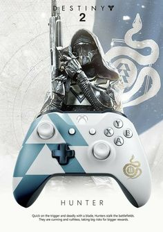 Beautiful blue and white Hunter Xbox One Controller from Destiny 2 Destiny 2 Xbox, Destiny Hunter, Destiny Bungie, Destiny Game, Xbox One S, Xbox One Games, Ps4 Games, Xbox 360, Custom Xbox One Controller