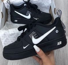 shoes - Nike Air Force 1 Utility 🔥😍 Link in Bio ☝🏼 again all sizes for men & women at the start 👌🏼 snkraddicted sneakergram prinzsportlich again force sizes start utility women Genel Moda Sneakers, Sneakers Nike, Black Shoes Sneakers, Kicks Shoes, Nike Trainers, Casual Shoes, Girls Sneakers, Nike Shoes For Girls, All Black Nike Shoes