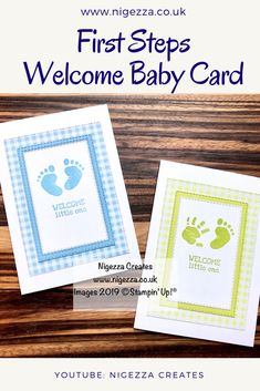 Love using Gingham Gala for a Welcome Baby card and these feet and hands in First Steps from STampin' Up! are just adorable. Baby Girl Cards, New Baby Cards, Handmade Birthday Cards, Greeting Cards Handmade, Step Cards, Baby Shower Cards, Welcome Baby, Baby Prints, Kids Cards