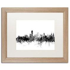 """Trademark Art """"Adelaide Australia Skyline B&W"""" by Michael Tompsett Framed Graphic Art Size: 16"""" H x 20"""" W x 0.5"""" D"""