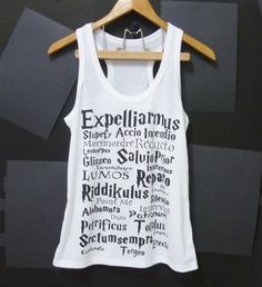 Harry Potter tank top magic spells movie White Women teen Tank top size S ,M singlet crop top shirt ladies blouse by Cute classic shop on Etsy, $12.80