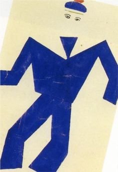 Skating Rink Marine blue and red drawing of costume - Fernand Leger