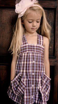 Little girl dress made from a mens shirt.