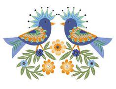 CbyC Original Illustration - Folk Art Birds Limited Edition Print