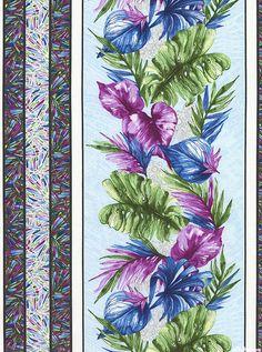 Butterfly Forest - Tropical Leaf Stripe - Powder Blue