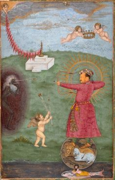 Emperor Jahangir Triumphing Over Poverty, attributed to Abu'l Hasan, depicting a man in red tunic firing a bow and arrow at the figure of pottery, surrounded by angels.