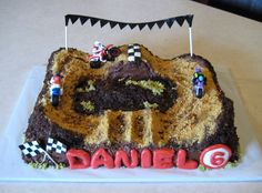 motocross cake with graham cracker crushed for track