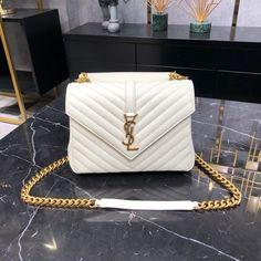 Ysl Saint Laurent college medium chain shoulder bag white gold Saint Laurent Bag, Chain Shoulder Bag, Ysl, Chanel Boy Bag, Saints, White Gold, College, Medium, Bags