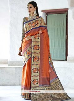 Online saree shopping from an exclusive collection of designer sarees. Buy this princely orange designer traditional saree for bridal and wedding. Ladies Suits Indian, Suits For Women, Latest Indian Saree, Indian Sarees, Traditional Sarees, Traditional Dresses, Indian Clothes Online, Saree Shopping, Sarees Online