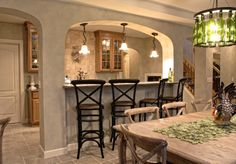 Mediterranean Basement Design Ideas, Pictures, Remodel and Decor Kitchen Cabinet Design, Kitchen Decor, Kitchen Dining, Kitchen Colors, Kitchen Ideas, Basement Bar Designs, Basement Ideas, Basement Bars, Basement Makeover