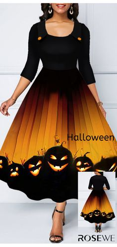 Dresses For Women Halloween Prints, Halloween Outfits, Halloween Kostüm, Women's Fashion Dresses, Outfit Of The Day, High Waisted Skirt, Casual Outfits, Quarter Sleeve, Womens Fashion
