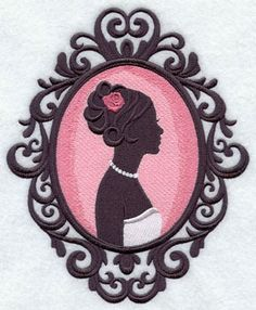 A bride silhouette in a cameo frame machine embroidery design.