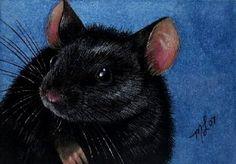 Black Mouse Art  Melody Lea Lamb ACEO Print by MelodyLeaLamb, $6.25