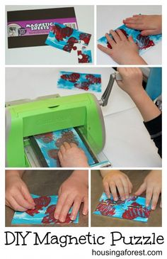 Make your own magnetic puzzle from your kids artwork.