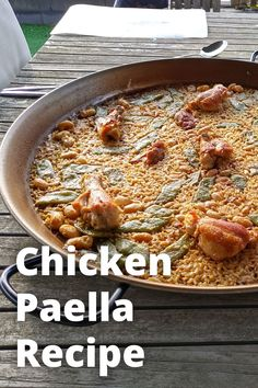 "The Chicken Paella recipe – known in Spanish as ""Paella de Pollo"" – is popular around the world. The ingredients for chicken paella are relatively easily obtained. This makes it more accessible and affordable than the more exclusive Seafood Paella, for instance. This Chicken Paella recipe closely resembles the original Paella Valencia recipe. Paella Valenciana is the Godfather of all paellas and is made with chicken, rabbit, and locally grown beans. Paella Recipe For 2, Mixed Paella Recipe, Paella Pan, Seafood Paella, Vegetarian Paella, Chicken Paella, Meat Chickens, Chicken"
