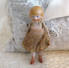 Antique German Dollhouse Bisque Flapper Doll