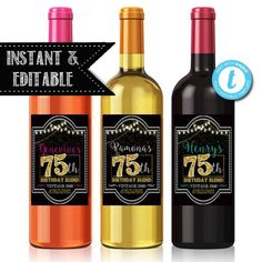 EDITABLE 75th Birthday Custom Wine Label Cheers To 75 Years 30th Gifts
