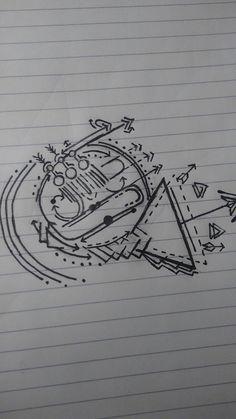 Geometric French Horn Tattoo idea.