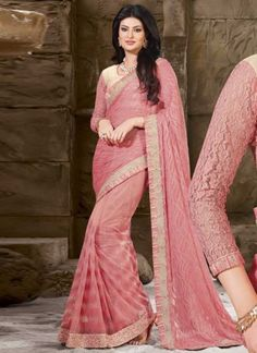 Lovely Pink Embroidery Work Net Fancy Half Designer Sarees http://www.angelnx.com/Sarees/Designer-Sarees