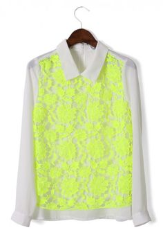 Neon Yellow Floral Lace Shirt