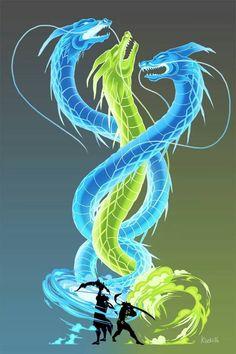Hanzo and Genji   Overwatch art   drawing of hanzo and genji dragons green and blue   #overwatchArt ult ultimates