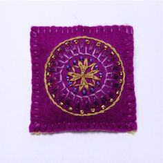 Mauve Embroidered Mandala Brooch via Etsy