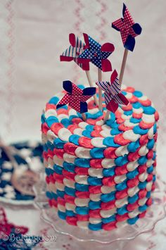 Festive-Fourth-of-July-Cake. From Bakingom. If you're not a fan of her's, you should be.
