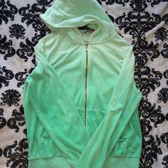 Ombre juicy couture zip up Gold zipper. Mint/seafoam great. Loose fit Juicy Couture Tops Sweatshirts & Hoodies