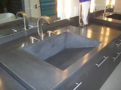 Concrete Countertops Glass Aggregate | concrete countertop with an integrated ramp sink