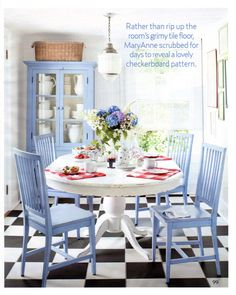 periwinkle blue in the kitchen..who would think..so pretty.