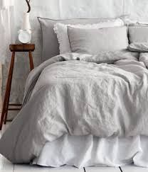 Linen Duvet Cover Set, Light Gray - traditional - duvet covers - - by H SPARE BEDROOM.