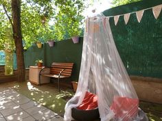"""Den with tyres from Llar d'infants Les Baldufes ("""",) Baby Room Activities, Outdoor Activities, Communication Friendly Spaces, Reggio Emilia Approach, Teepee Play Tent, Cubby Houses, Backyard, Patio, Toddler Play"""