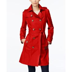 London Fog Hooded All-Weather Double-Breasted Trench Coat ($110) ❤ liked on Polyvore featuring outerwear, coats, poppy red, red hooded coat, hooded trenchcoat, double breasted coat, red trench coat and london fog