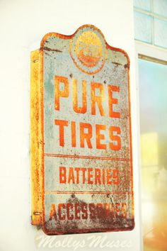 Americana decor Old Metal Sign Pure Tires Batteries by MollysMuses, $15.00